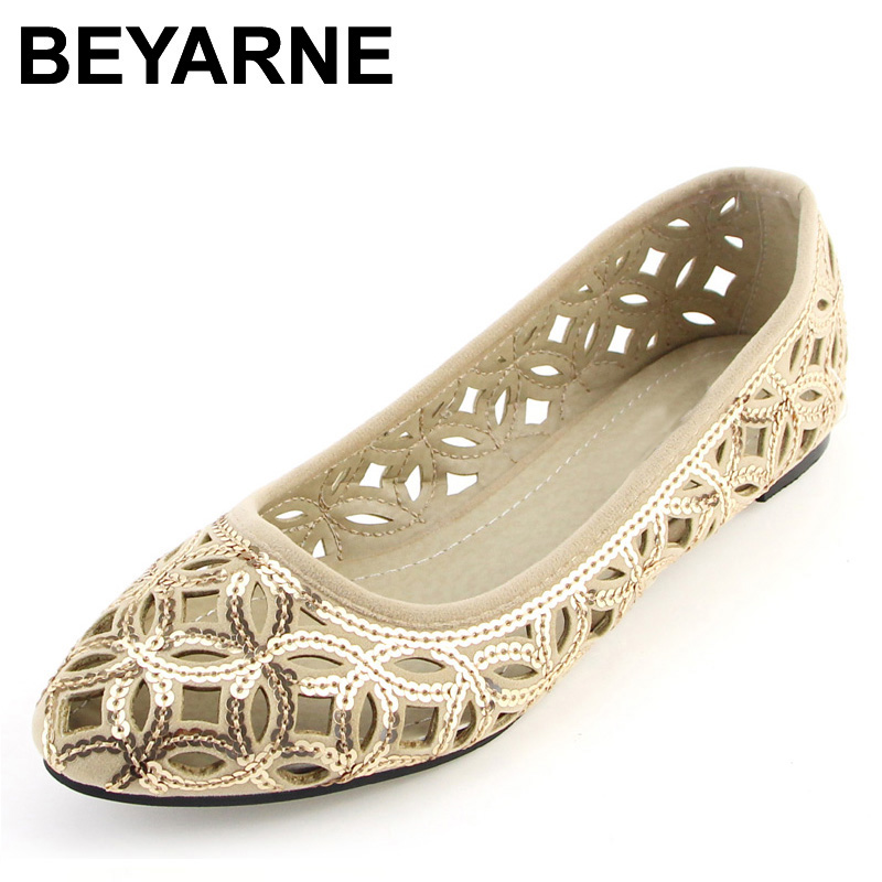 BEYARNE New Arrival Women&39;s Flats Fashion Summer Shoes Cut-Outs Flats for Women Flat Heel Shoes Plus Size 41 Free Shipping