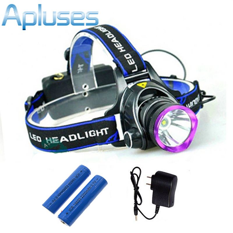 2000 Lumens CREE XM-L T6 LED Headlamp rechargeable Headlight Flashlight Head Lamp Ligh + 2pcs 18650 Battery + Charger