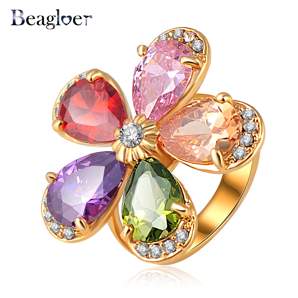 Beagloer High Quality Fashionable Fine Rings Gold Color Austrian Crystals Flower Ring for Girls Ri-HQ0347